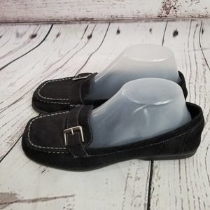 Black Suede Loafers shoes silver Buckle 8